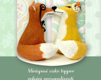 Wedding cake topper cute foxes Custom foxes wedding Personalized cake topper with fox figures Bride and groom figures foxes