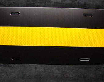 THIN GOLD LINE or Thin Yellow line Reflective Metal Car License Plate