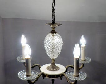 Original 1960's French 5-Arm Brass and Glass PINEAPPLE Chandelier!