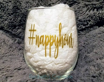 Nappyhour Stemless Wine Glass, Funny Stemless Wine Glass, Gift For Mom, Mom Juice, Naptime Fun, Fun Mom Gift, NapTime Wine Glass, Wine Lover