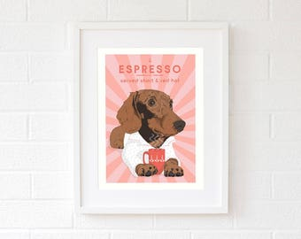 Red sausage dog Pet gifts for Mom Dog Mom gifts Dog portraits Gift for girlfriend Wife gift birthday gifts Pink gift for her art-dachshunds