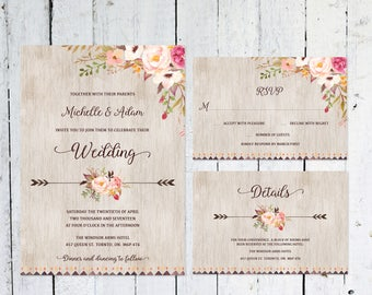 Wedding Invitation Set, Boho Wedding Invitation, RSVP Card, Details Card, Printable, Wedding Suite, Rustic, Printable