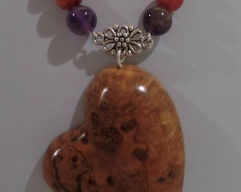 Black Cherry Burl Hand carved Heart pendant with Muti-color beads and Antique Silver plated chain JN013