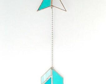 stained glass arrow suncatcher teal