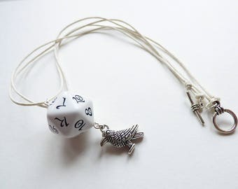 White Raven - Dungeons and Dragons D20, Necklace, Pendant, white, silver, crow, RPG, D&D, Jewellery, Dice, patherfinder