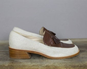 90s ENZO ANGIOLINI LOAFERS linen leather with tassels