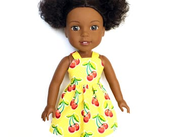 Dress, Spaghetti Strap, Cherries, Yellow, Red, White, 14.5, 14 inch Doll Clothes, Wellie Wishers