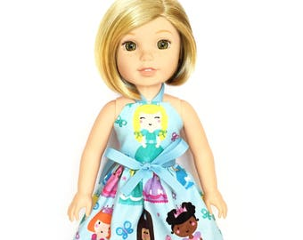 Halter Dress, Princess, Yellow Hair, Blue, White, Pink, Orange, Yellow, 14.5, Fits dolls such as AG, Wellie Wishers, 14 inch Doll Clothes