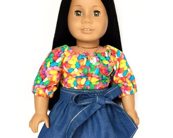 Crop Peasant Top, Mid Sleeve, Easter, Jelly Bean, Yellow, Pink, Blue, Fits dolls such as American Girl, 18 inch Doll Clothes, Mix and Match