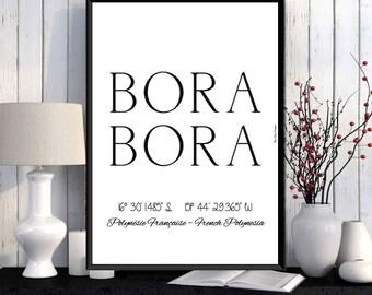 Bora Bora poster, Bora Bora island print, French Polynesia poster, Home wall art decor, Office wall decor, Modern typography printable