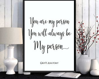 Grey's Anatomy quote poster, Girlfriend gift, Boyfriend gift, Love poster, Love quote, Grey's Anatomy quote, Poster quote, Wall decor