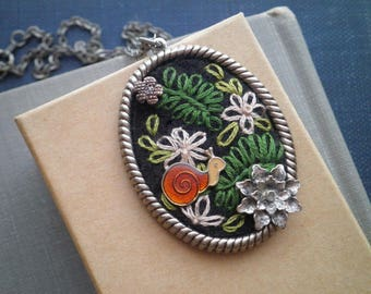 Embroidered Woodland Floral Cameo Necklace - Mini Enamel Snail Flower & Leaf Collage Necklace - Flora + Fauna Fiber Art Jewelry Gift For Her
