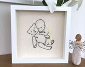 Angel Baby & Bear Embroidered Picture, Baby loss Memory Gift, Miscarriage Keepsake, Baby Remembrance, Pregnancy Loss, Mommy to an Angel