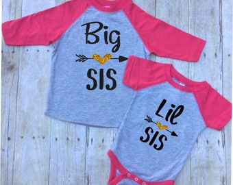 Big Sister Little Sister Shirt Shirt Set-Big Sister Shirt-New Baby Announcement Shirt-Big Sister Shirt-Little Sister Shirt-Pregnancy Reveal