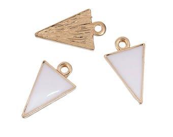 5 pendants in Golden Metal and enamel white 1.7 cm triangular / geometric