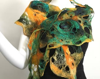 woolen scarf, green and yellow scarf, felted scarf, cobweb scarf, hand felted scarf, 100% wool scarf, art to wear, fiber art scarf, felted