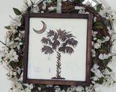 Palmetto Tree & Crescent Moon South Carolina Pride Framed Rustic Wood Sign