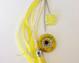Bag jewelry or keyring yellow tones