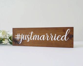 Just Married Wooden Sign - #justmarried - Hashtag Wedding Sign - Wedding Photo Prop - Instagram Wedding - Wedding Gift - Wedding Decoration
