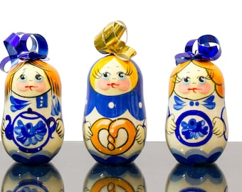 "Christmas Ornaments - Set of 7 - ""Matryoshkas"" - Wooden Handmade Ornaments from Russia"