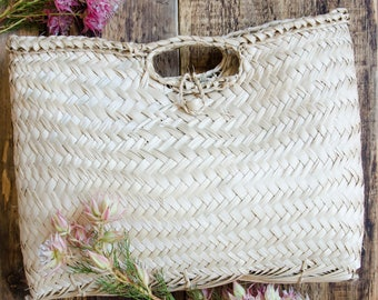 Handwoven Palm Fiber Basket Handbag