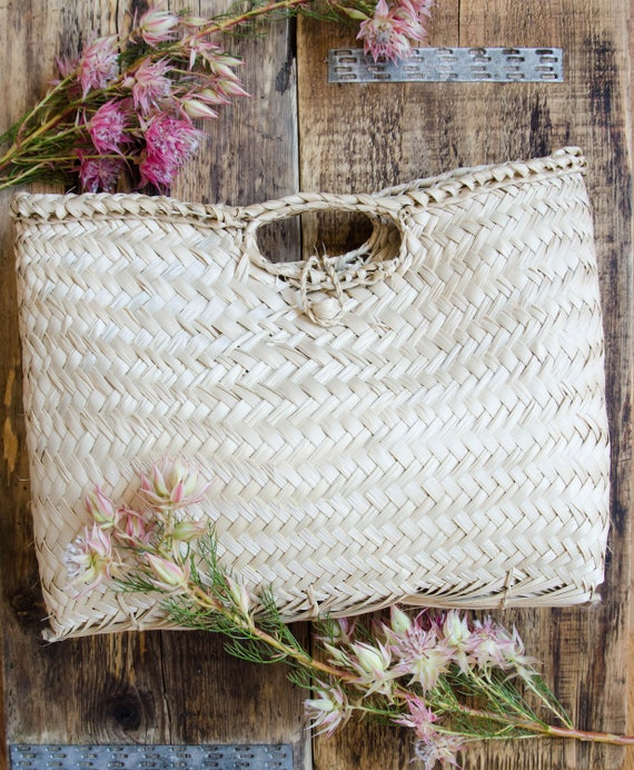 Handwoven Palm Fiber Basket Handbag