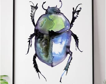 Dung beetle painting watercolour ink iridescent Wall Art Bug Halloween Insect Goth Steam Punk Illustration Print A4 A3 A2 A1 ANY SIZE