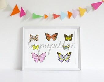 Butterfly Art, Butterfly Drawing, Butterfly Picture, Butterfly Print, Print, Butterfly Wall Art, Pretty Art Print, Girls Art, Girls Decor