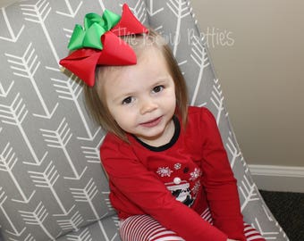 Red and Green Bow, Christmas Hair Bow, XL Christmas Bow, Red Hair Bow, Green Hair Bow, Holiday Hair Bow, Winter Hair Bow, Double Stacked Bow