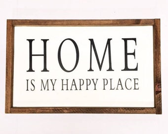Home is My Happy Place, Wood Sign, Farmhouse Style, Farmhouse Decor, Gallery Wall, Living Room Decor, Christmas Gift,