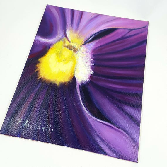 Mixed media, modern picture, purple pansy, one of a kind, OOAK, canvas panel, wedding list, floral art, contemporary, macro painting.