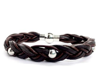 Men's Jewellery Braided Leather Bracelet with solid Stainless Steel beads Design. Magnetic closure - Gift box included. Gifts for man - Boys