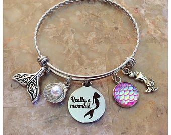 Really A Mermaid Charm Bangle, Beach Charm Bracelet, Beach Jewelry, Beach Lover Gift, Beach Bracelet, Nautical Bracelet, Mermaid Bracelet