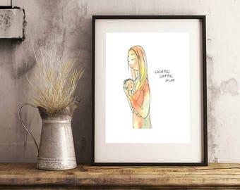 Colorfull. Love full of life. Original watercolor print. Motherhood.