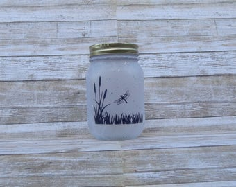 Dragonfly Lamp - Mason Jar Lamp - Dragonfly Home Decor - Dragonfly Nightlight - Dragonfly Decor, Rustic Home Decor, Country Decor, Primitive