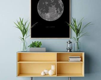Full Moon Poster, La Luna Printable, Full Moon Print, Solar System Art, La Luna Designs, Full Moon Printable