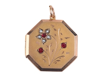 Rose Gold Engraved Octagonal Locket with Pearls and Garnets