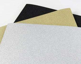 25 - 8 1/2 x 11 Glitter Text Weight Paper - Gold Glitter Paper - Silver Glitter Paper - Black Glitter Paper - 91lb