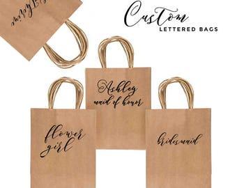 Custom hand written kraft gift bag - matron of honor gift bag - bridesmaid gift bag - flower girl gift bag - mother of the bride gift bag