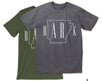 b-AR-k Arkansas T-Shirt - Unisex Bark Arkansas Screen Printed T-shirt - Arkansas Dog Lover Donation Shirt - Arkansans For Rescue Animals