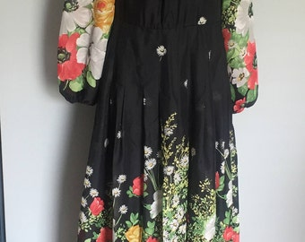 Beautiful Prairie Hippie Boho Black and Bold Colour flowers poppy long maxi dress long sleeves