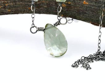 Green Amethyst Necklace, crystal clear seafoam green stone, oxidized sterling silver jewelry, one of a kind handmade necklace, OOAK jewelry