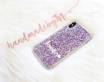 Personalized Purple Glitter Phone case iPod Touch 6th Generation Case iPod Touch 5th Generation case Personalized Gift iPhone case