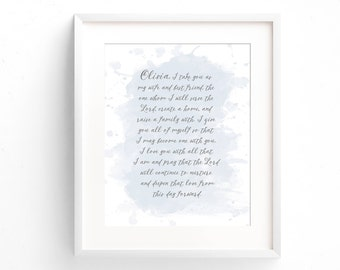 Wedding Vow Keepsake - Paper Anniversary Gift- Wedding Vow Print - Wedding Vow Art - First Anniversary Gift - Wedding Gift - Wedding Vows