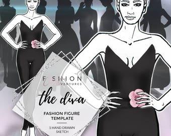 The Diva | Fashion Template, Fashion Illustration, Croquis, Fashion drawing