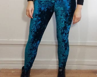 Recycled Stretch Turquoise Velvet Leggings