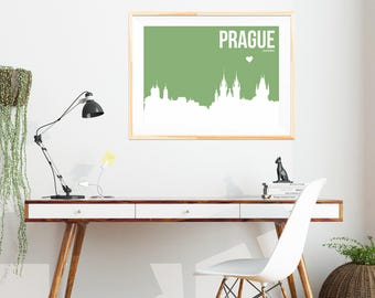 Prague Skyline Print - Many Colours Available - Minimalist Print - Minimalist City Skyline - Prague Wall Art - Abstract Poster - Neutral Art