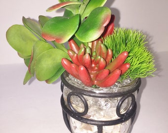 Succulent Planter, Faux Succulent Planter, Desk Accessory, Succulent Gift