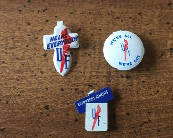 Vintage United Foundation Torch Clip-On Donation Pins