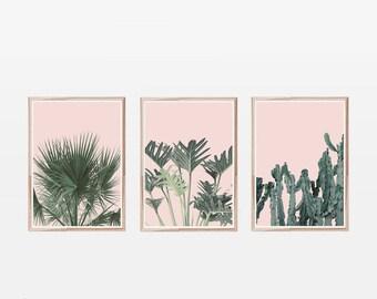 Set of 3 Prints,Blush Pink,Tropical Prints,Large Wall Art,Printable Art,Wall Prints,Art Prints,Cactus Print,Palm Print,Palm Leaf Print,Palm